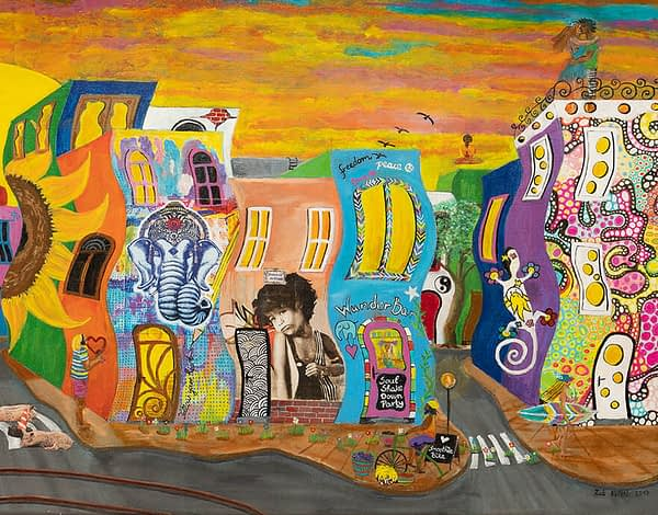 detail of utopic city vegan art by zoé keleti