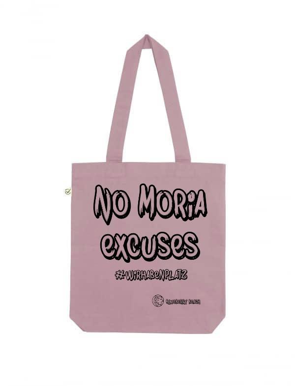 No Moria excuses purple rose tote bag
