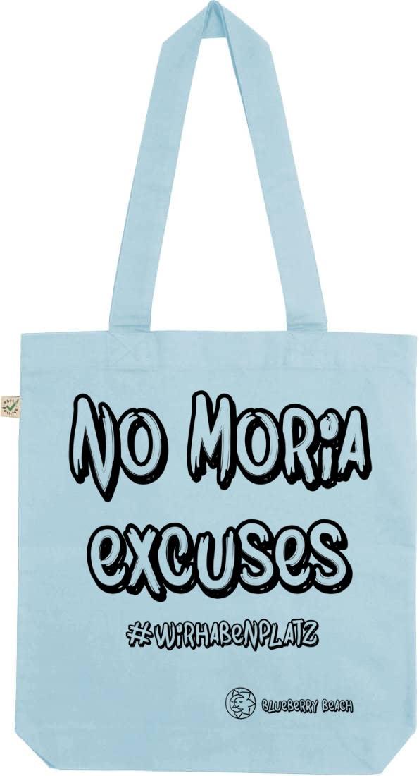 No Moria excuses light blue tote bag