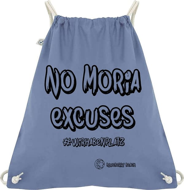 Bio Baumwolle gym bag with no Moria excuses #wirhabenplatz printed on it with screen print