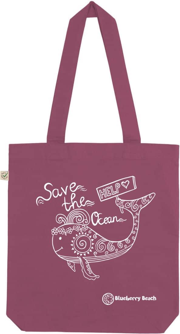 Save the ocean berry tote bag
