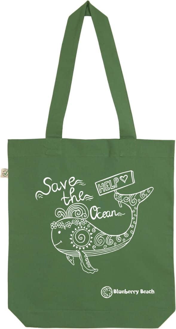 Save the ocean whale leaf green tote bag