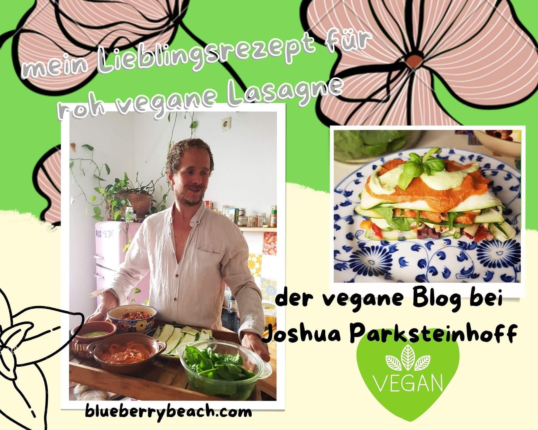 joshua mit einer veganen roh lasagne