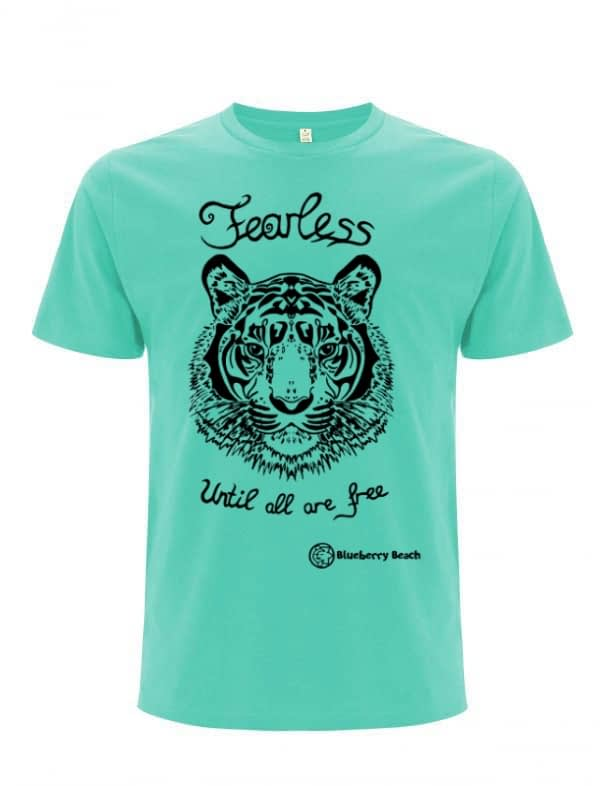 Organic t-shirt with a tiger screen print and the text fearless until all are free written on it
