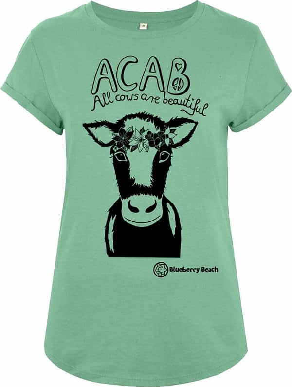 Acab all cows are beautiful screen print organic t-shirt cow with flowercrown Calb