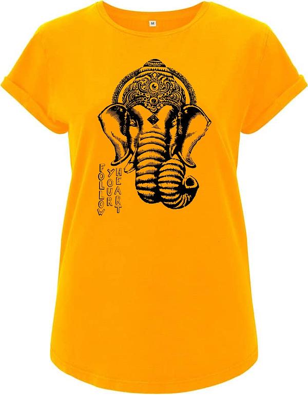 Gold yellow Ganesha t-Shirt organic women