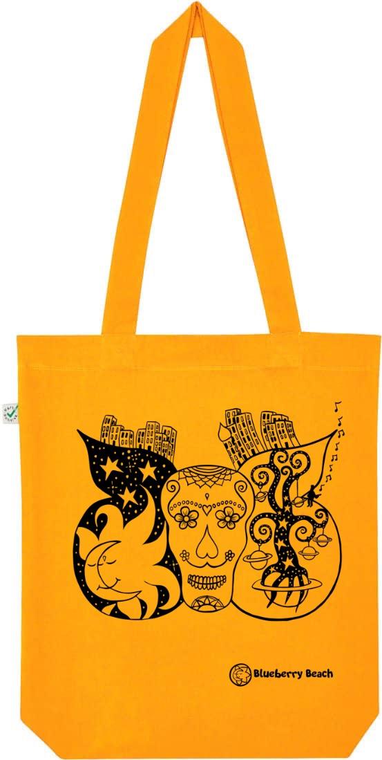 Sugar skull organic tote bag screen print