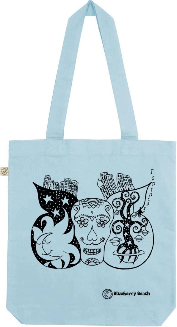Sugar skull organic tote bag light blue