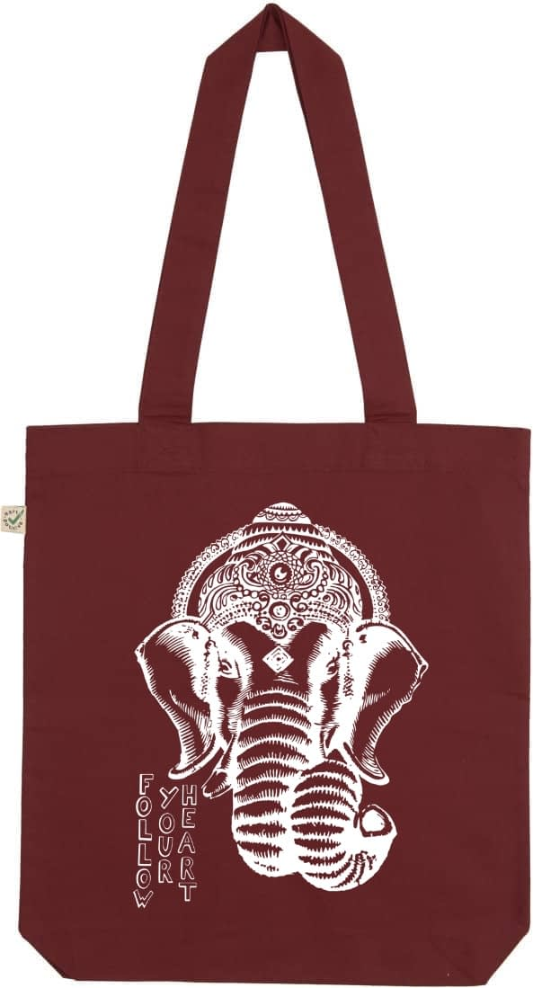 Ganesha burgundy tote bag