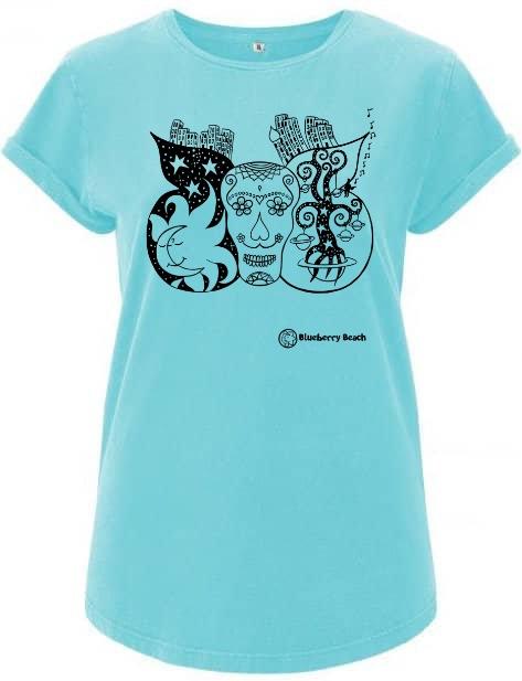 Sugar skull blue organic t-shirt