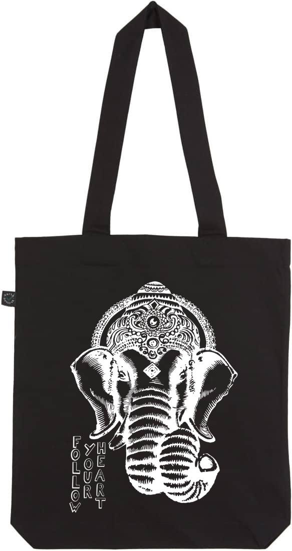 Ganesha black organic tote bag