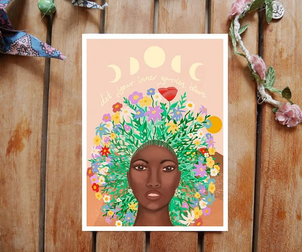 inner garden woman flowerhair postcard on bamboo paper by zoé keleti