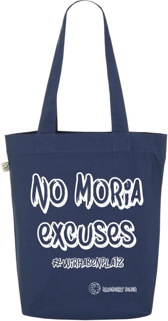 No Moria excuses denim tote bag