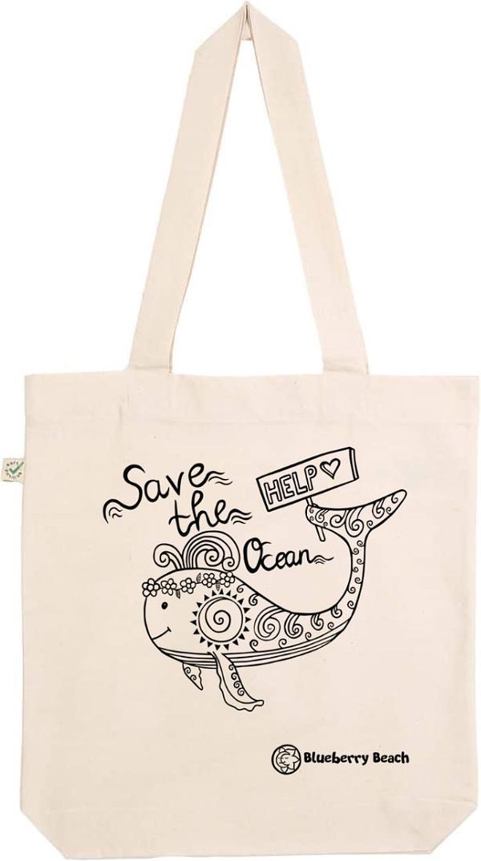 Save the ocean natural tote bag