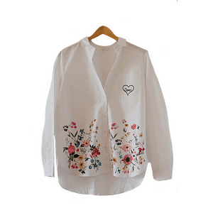 Shirt with flowers and open heart screen print