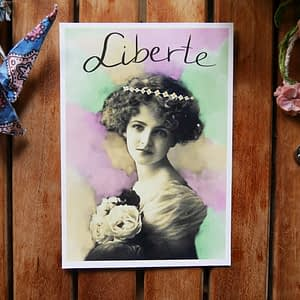 liberte woman with flowercrown postcard