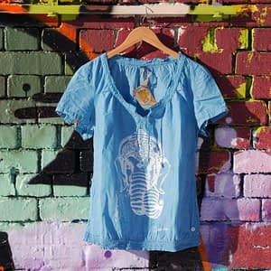 upcycled second hand t-hirt light blue ganesha