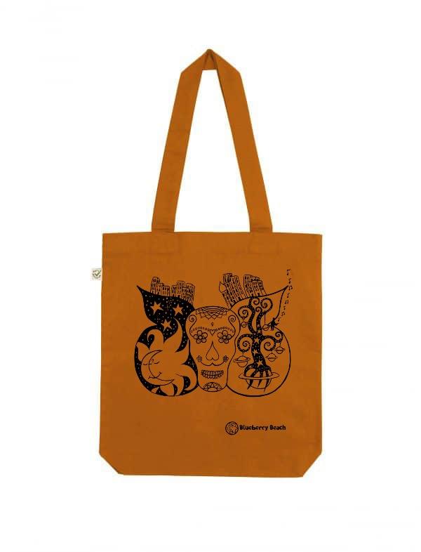 Sugar skull organic tote bag cinnamon screen print
