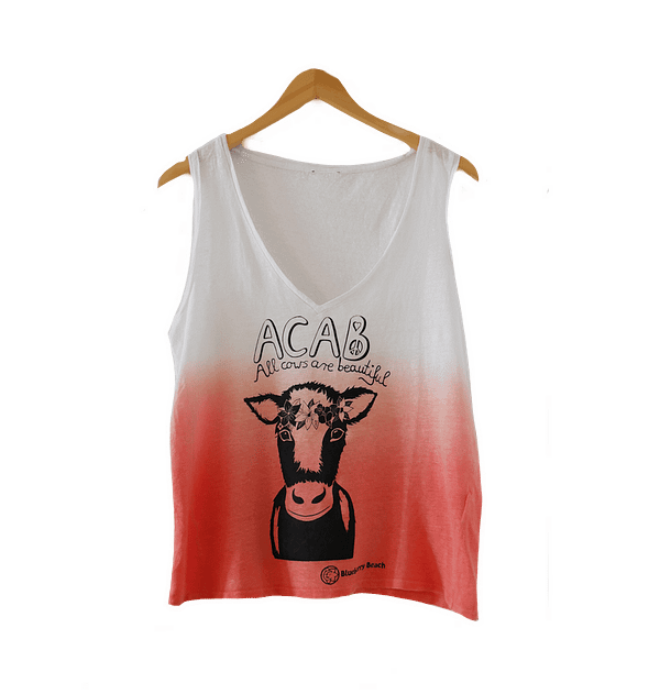 Linen tie dye top acab all cows are beautiful cow with flowercrown screen print