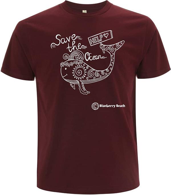 Save the oceans burgundy organic t-Shirt whale screen print