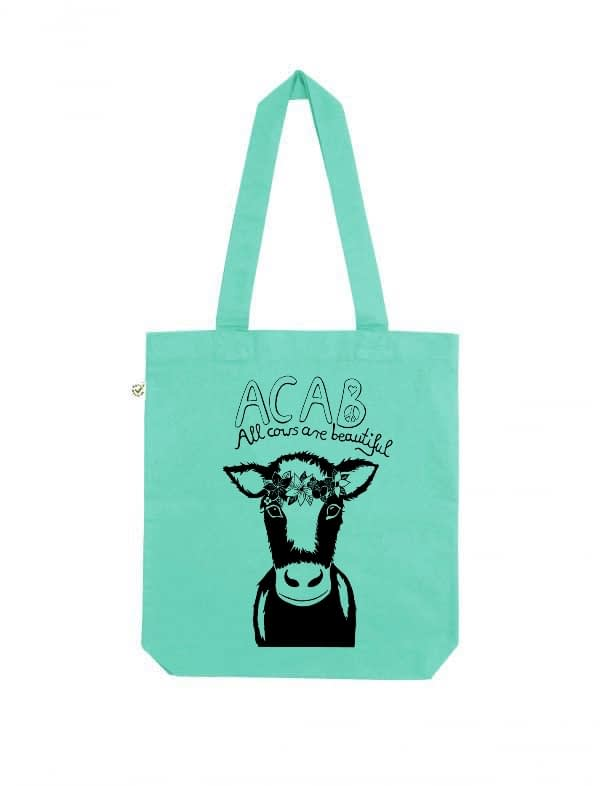 Acab all cows are beautiful mint tote bag