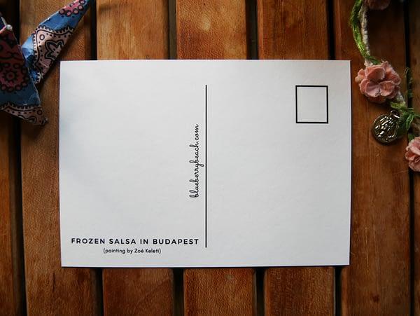 frozen salsa in budapest back postcard