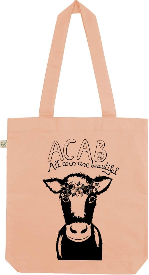 Acab all cows are beautiful peach tote bag