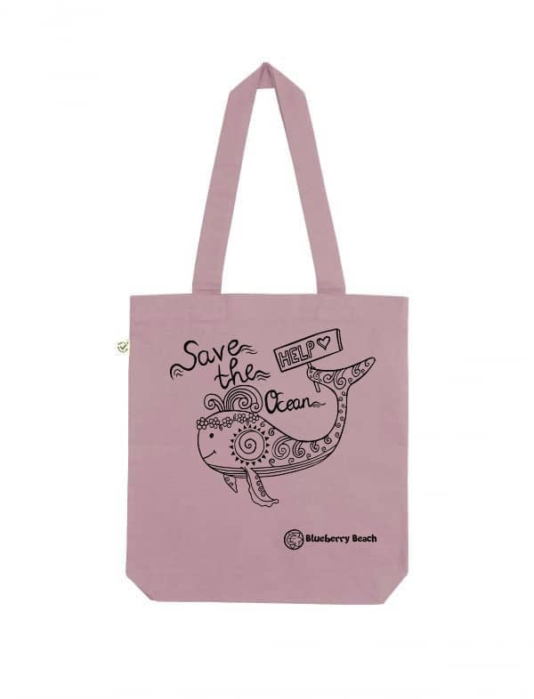 Save the ocean purple rose tote bag