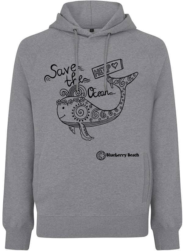 Save the oceans grey organic hoodie whale screen print