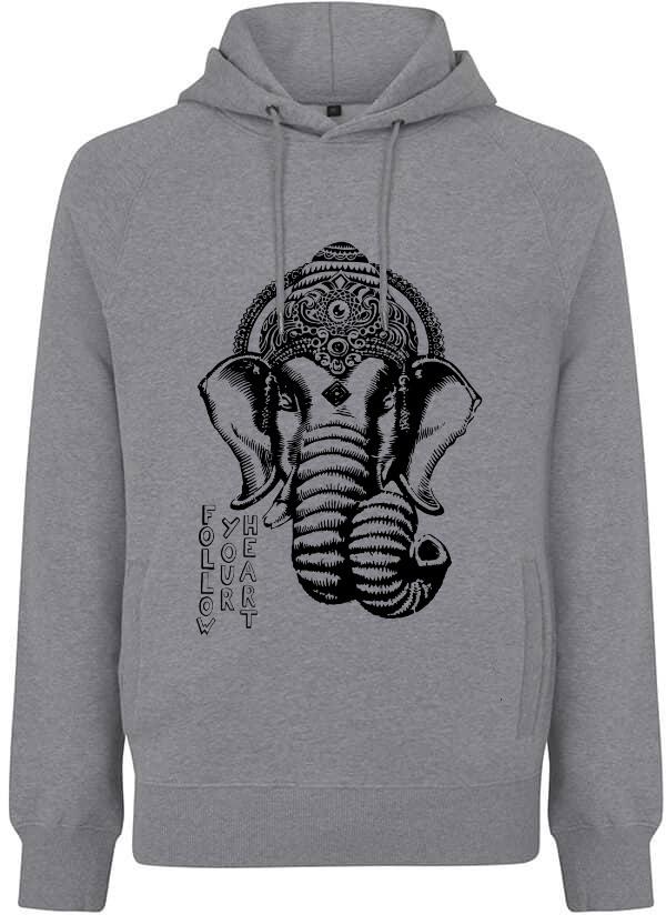Grey hoodie Ganesha follow your heart