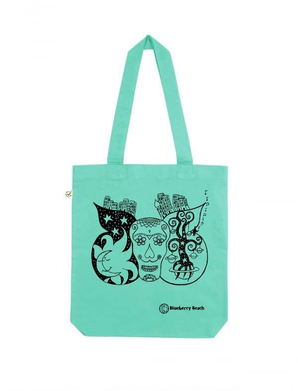 Sugar skull organic tote bag mint