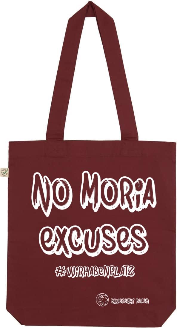 No Moria excuses burgundy tote bag