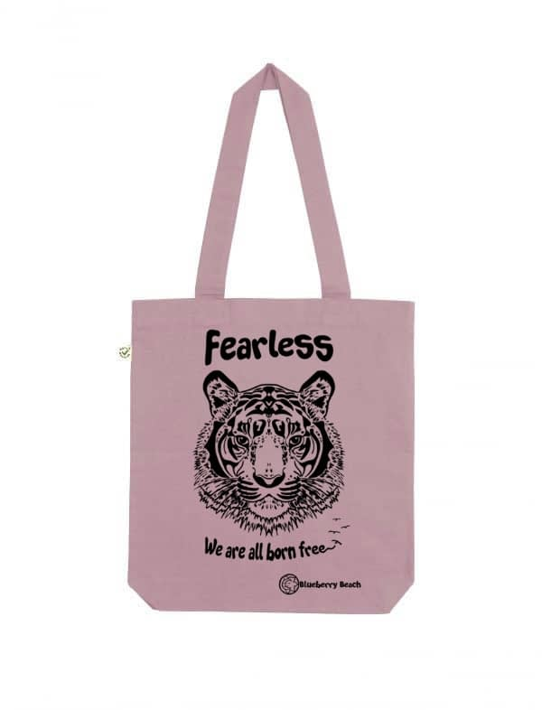 Organic bag screen printed tiger and fearless we are all born Free
