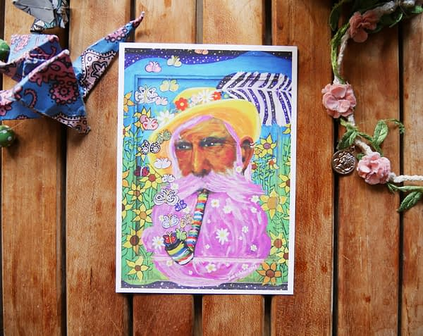 the man with yellow hat vegan art postcard zoé keleti blueberry beach