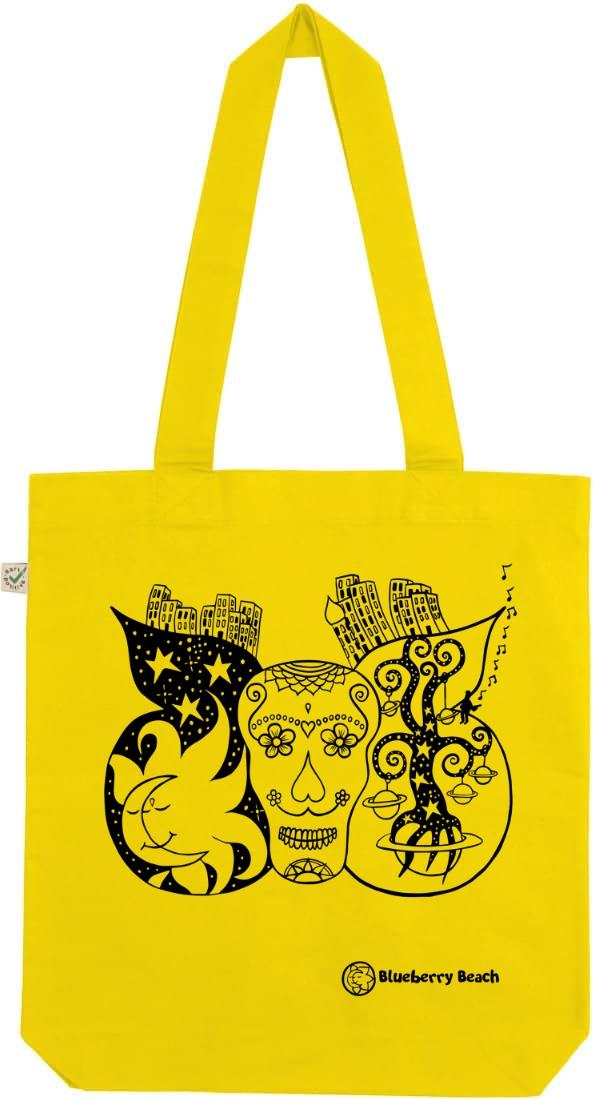 Sugar skull organic tote bag lemon yellow