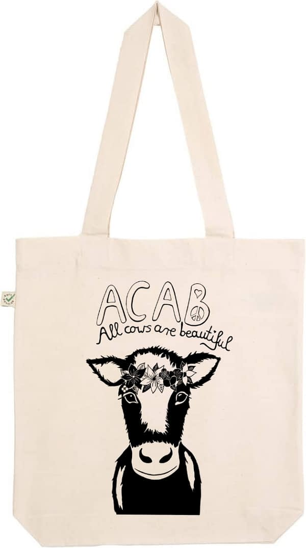 Acab all cows are beautiful natural tote bag