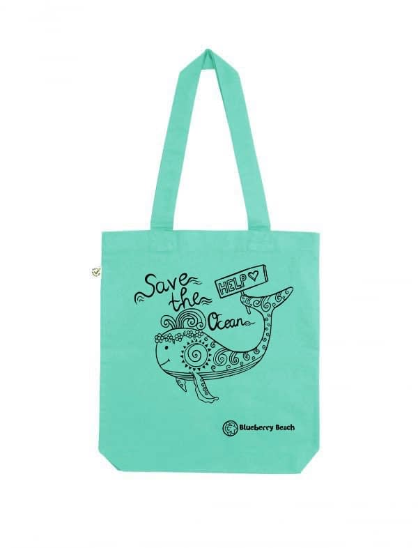Save the ocean mint tote bag