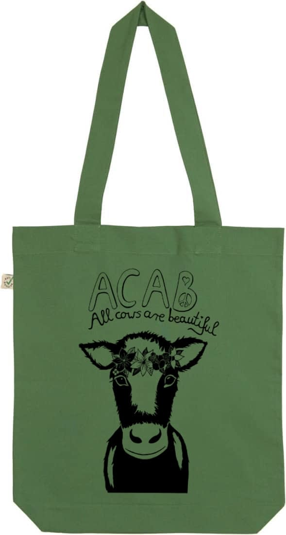 Acab all cows are beautiful leaf green tote bag