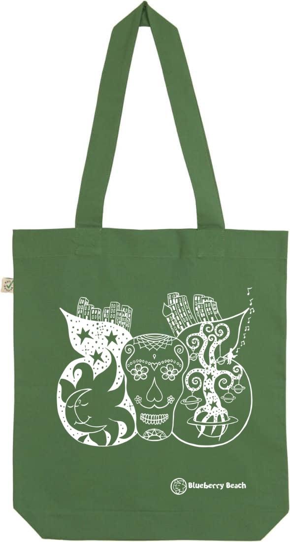 Sugar skull organic tote bag leaf green