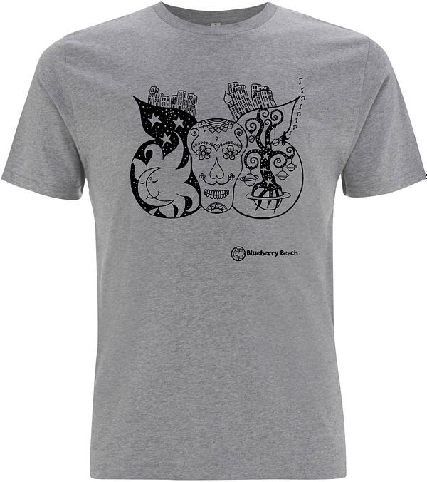 Grey sugar skull organic t-shirt