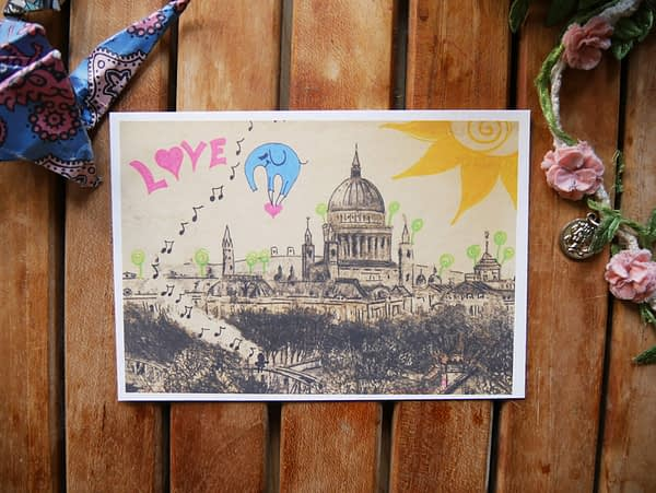 love is in the air berlin cityscape postcard by zoé keleti