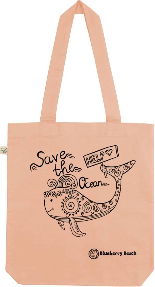 Save the ocean peach tote bag