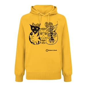 Organic hoodie with a sugar skull with butterfly wings screen printed on it