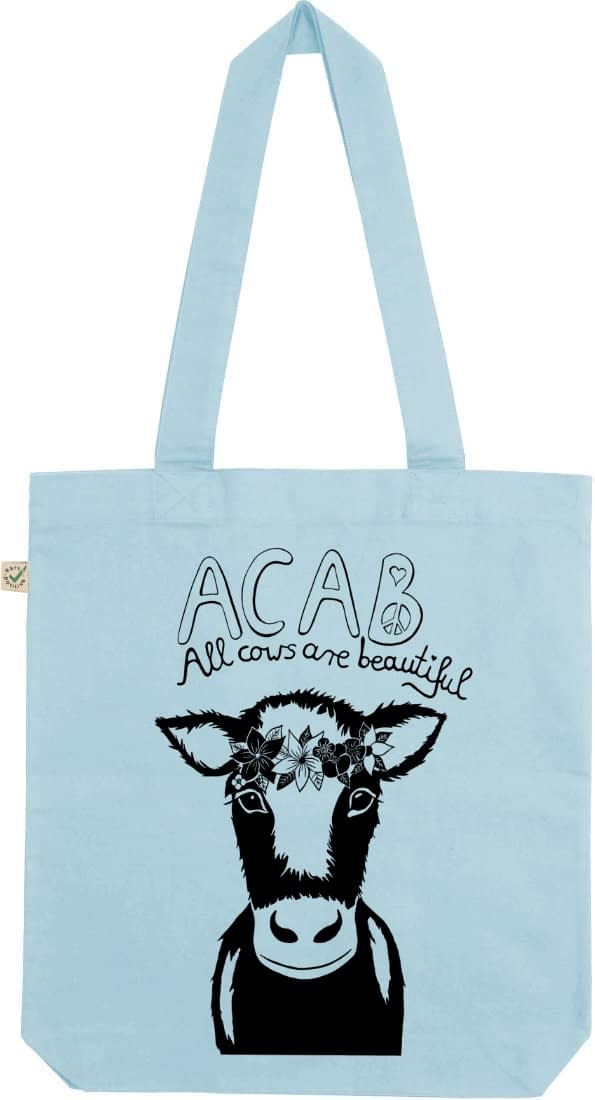Acab all cows are beautiful light blue tote bag