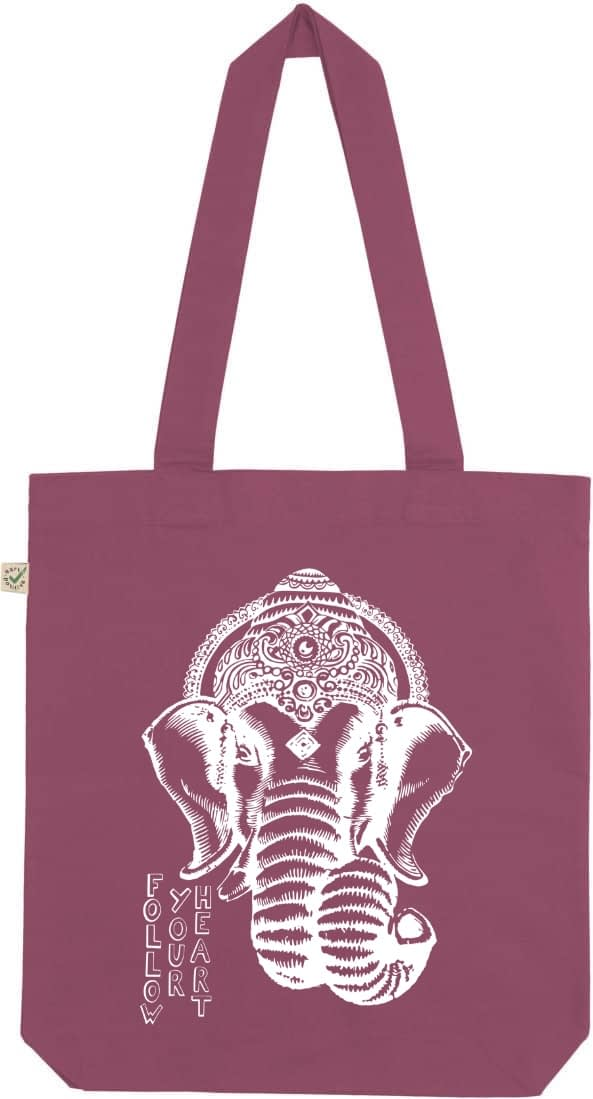 Ganesha organic tote bag berry