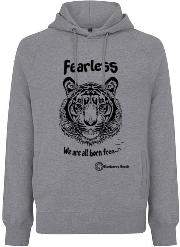 Organic hoodie with screen print tiger fearless we are all born free