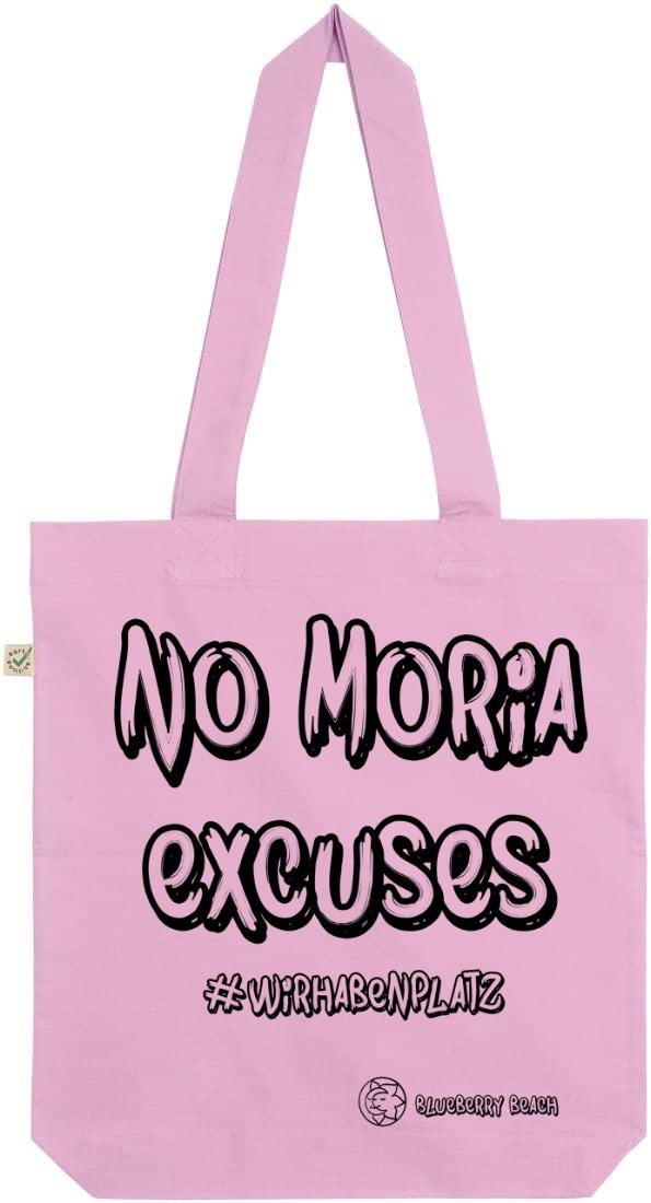 No Moria excuses light pink tote bag