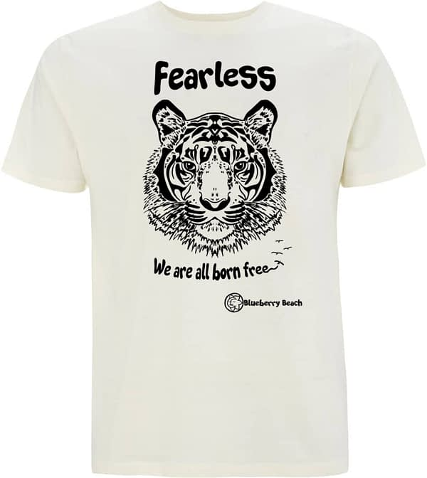 Organic t-shirt with screen print tiger fearless we are all born free