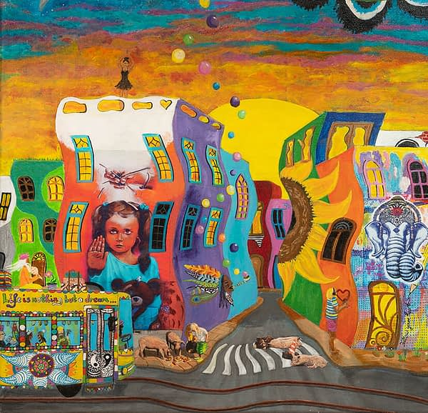 detail utopic city vegan art sunrise by zoé keleti