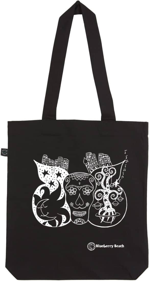 Sugar skull organic tote bag black screen print